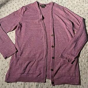 Eddie Bauer, pink cardigan sweater. Buttons